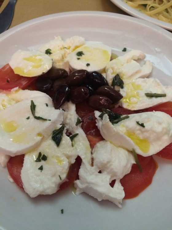 Tomato and buffalo mozarella salad at Palanca.