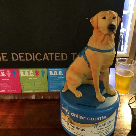 Charity tins at The Corkman bar