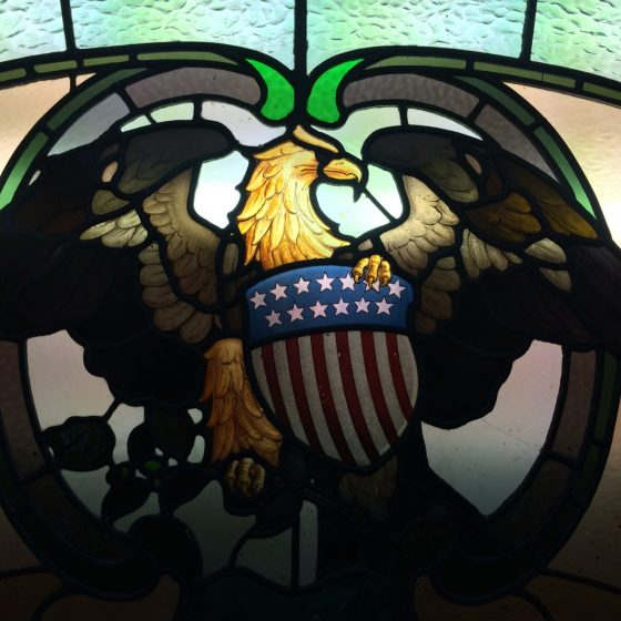 The exquisite U.S stained glass window at The Corkman.