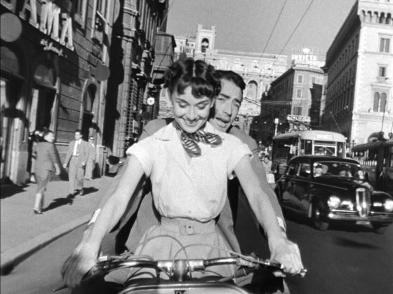 Audrey Hepburn and Gregory Peck from the trailer for the film Roman Holiday. Image from WikiMedia Commons