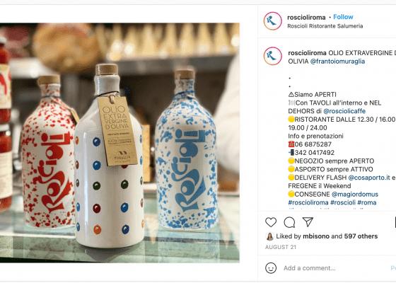 Salumeria Roscioli instagram post Olio Extravergine di Olivia