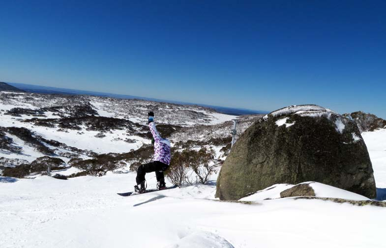 The boarders go mad while skiers have lessons. Perisher Ski Resort.