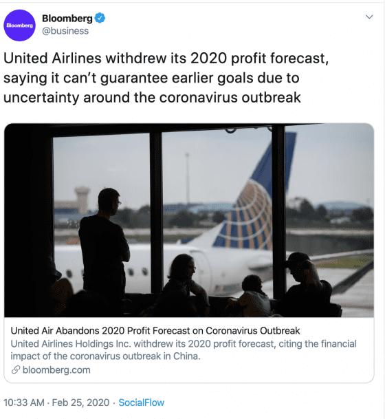Bloomberg tweet on United Airlines