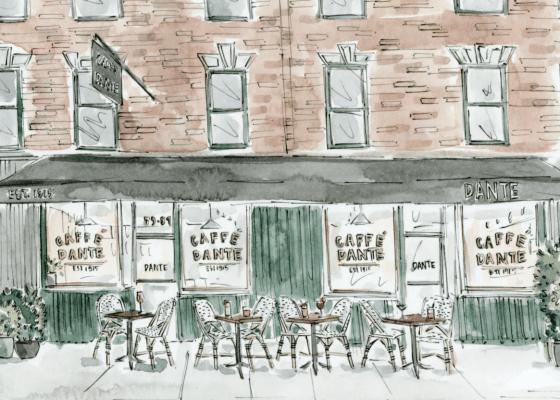 Caffe Dante Street Scape print from Dante store