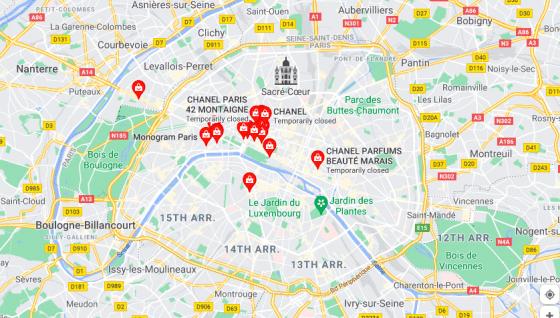 Chanel Avenue Montaigne Map